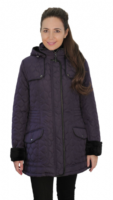 Womens ❤️Plus❤️ Fleece Lined Hooded Quilted Purple Coat db218